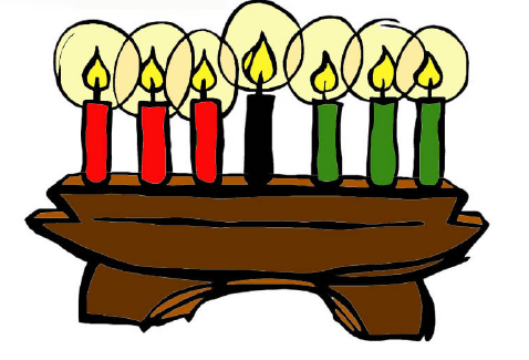 A kinara is the traditional candle holder of Kwanzaa. Each candle represents one of the seven principles, or the Nguzo Saba. The colors red, black and green reflect the colors of the Pan African flag.