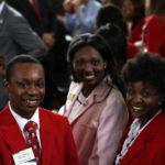 Chancellor's Aides Kris Rawls and Amanda McKnight, and volunteer Chelsea Gardner.