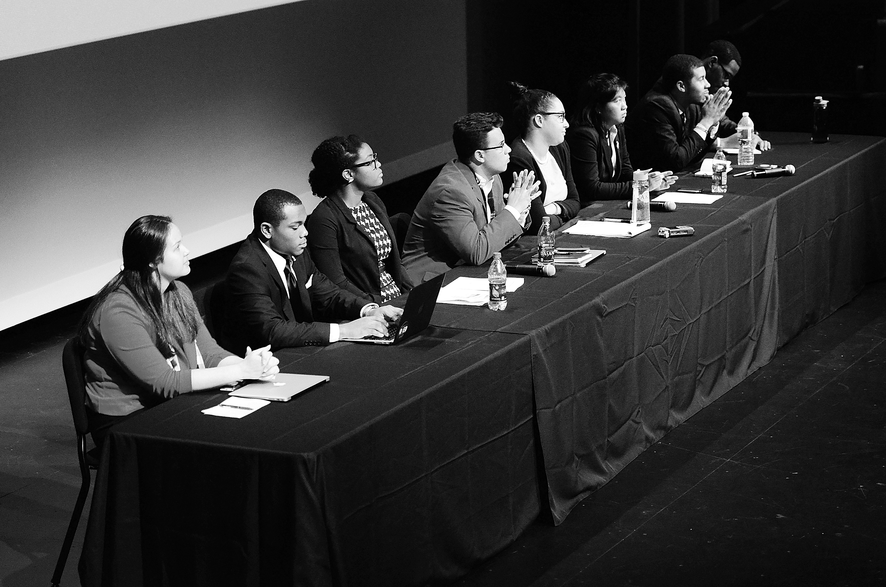 Students representing Student Government, Union Activities Board, Fraternity and Soroity Life, Afircan American Student Advisory Council, Native American Student Affairs and  Asian Students in Alliance sit on a panel during the Racial Climate Town Hall hosted by Student Government in Stewart Theatre on Janurary 13th.
