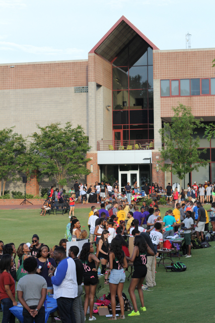 Students gather outside of Witherspoon Student Center on Harris Field for the annual Back to School Jam. The Union Activity Board and the Black Students Board hosted the event on Wednesday August 17th, 2016.