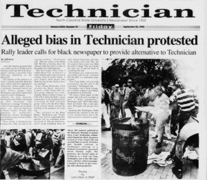 Technician article on students protesting biased articles in the paper by burning copies of the paper in the technician.