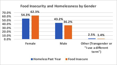 Food insecurity and homelessness by gender graph