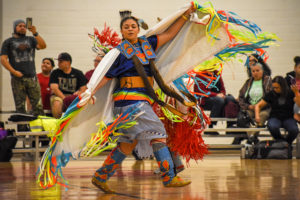 Jayla Davis dances during the 28th annual Pow-wow on Saturday, April 7, 2018 in Carmichael Gymnasium at NC State University.