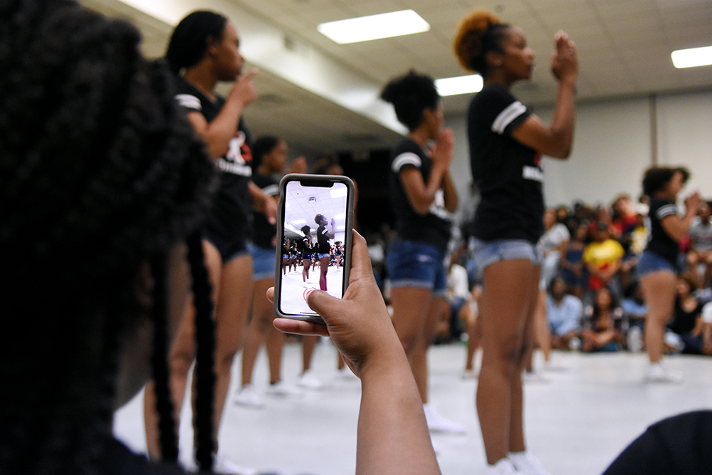 Sisters of the Mu Omicron chapter of Delta Sigma Theta Sorority, Inc., perform their step routine at the 2018 Back 2 School Jam, an annual event sponsored by University Activities Board's Black Students Board.