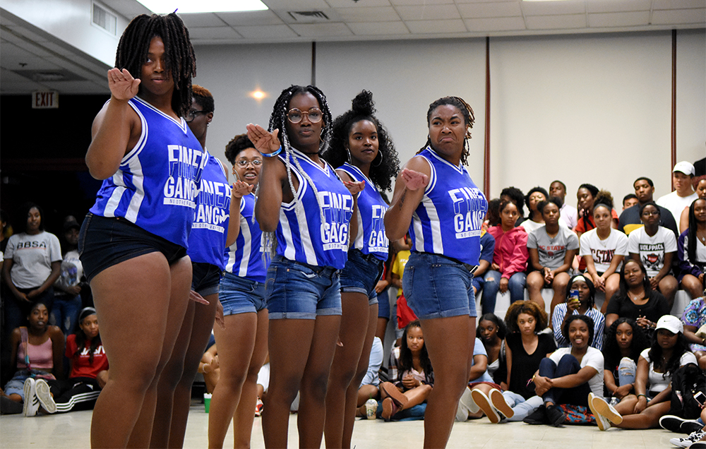"Sisters of the Mu Xi chapter of Zeta Phi Beta Inc. perform a step routine during Back 2 School Jam. The Zetas won the Pan-Afrikan Step Show in April 2018, taking home the trophy with an ""Annie"" themed stroll."