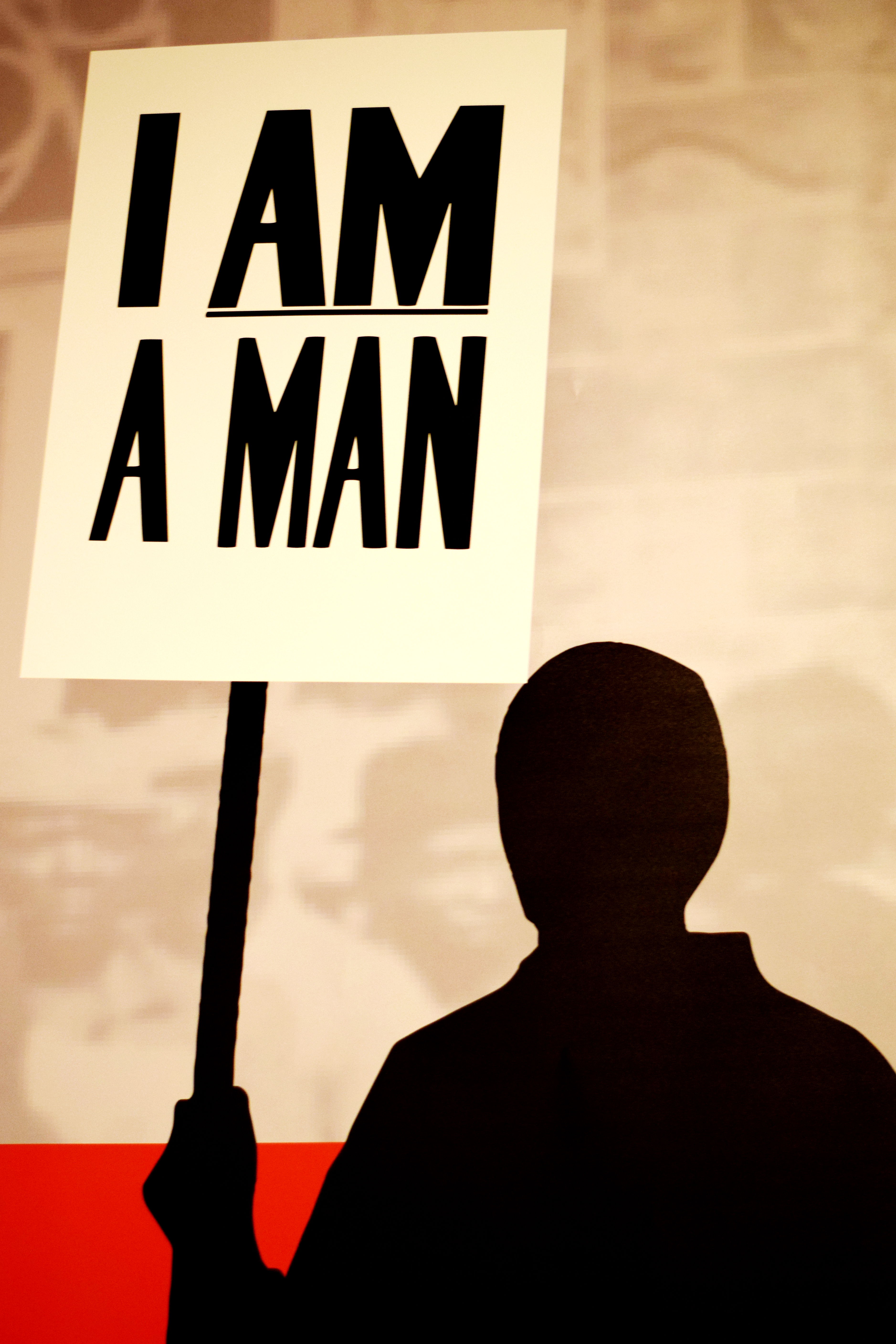 "The exhibit houses multiple graphics and information on the Sanitation Strike of 1968. The strikers, who were mainly African American sanitation workers, held signs that simply read ""I Am A Man."""