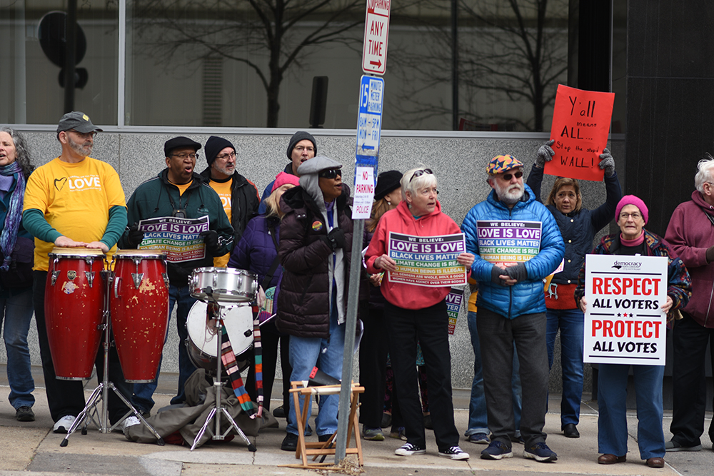 Unitarian Universalist perform at the Moral March on Raleigh on Saturday, Feb. 9, 2019. The group centers around the idea of inclusion for all religions, nationalities, and sexual orientations.