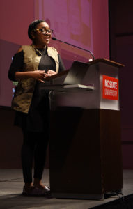Charlene Carruthers, a writer, activist and community organizer, delivers the keynote speech for Womxn's HERstory Month on Tuesday, March 19 at Talley Student Union.