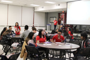 """Students participate in small group discussions at the """"Exploring Mental Health in the APIDA Experience"""" event in Witherspoon Student Center on Monday, April 1, 2019."""